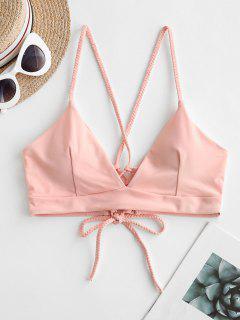 ZAFUL Braided Straps Lace Up Padded Bikini Top - Light Pink M