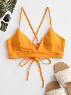 ZAFUL Braided Straps Lace Up Padded Bikini Top - Bright Yellow M