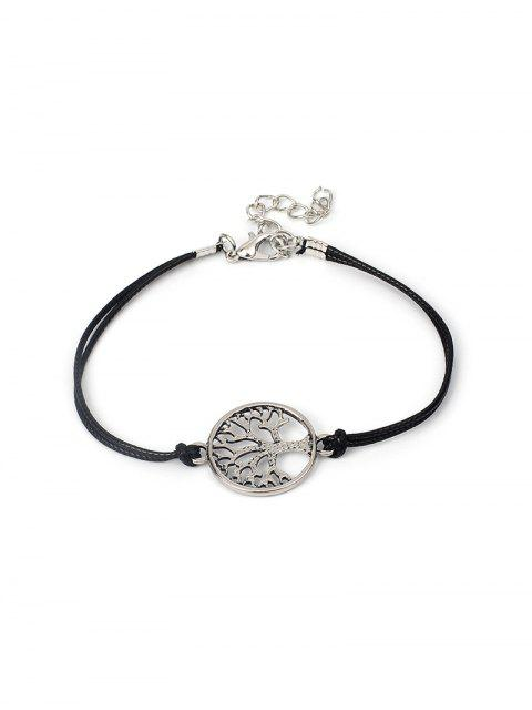 fashion Hollowed Tree Print Bracelet - BLACK  Mobile