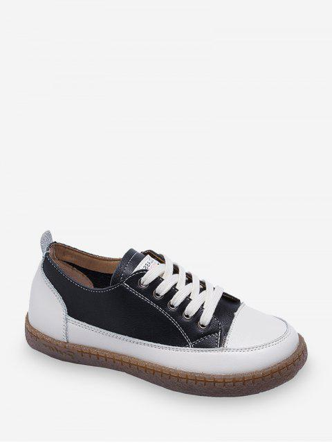 womens Low Top Rubber Sole PU Casual Shoes - BLACK EU 37 Mobile