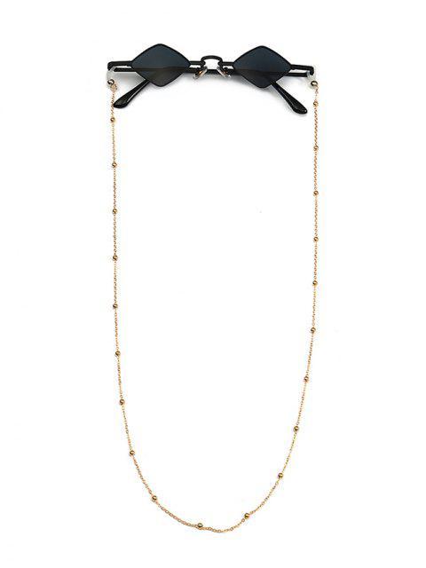 fashion Beads Rope Chain Vintage Rhombus Sunglasses - BLACK  Mobile