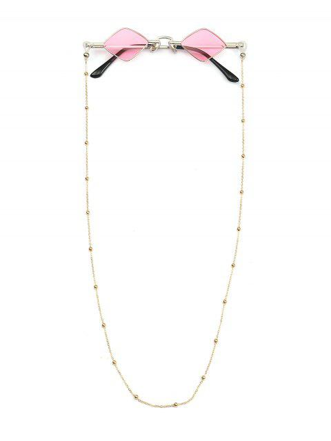ladies Beads Rope Chain Vintage Rhombus Sunglasses - PINK  Mobile
