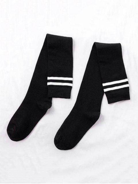 Полосатый принт Высота до колена Спортивные Носки - Чёрный  Mobile