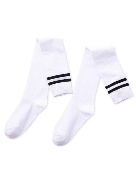 Chaussettes Longueur à Genou de Sport Rayées - Blanc  Mobile