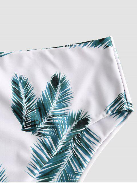 buy ZAFUL Tropical Leaf Print High Waisted Bikini Bottom - WHITE L Mobile