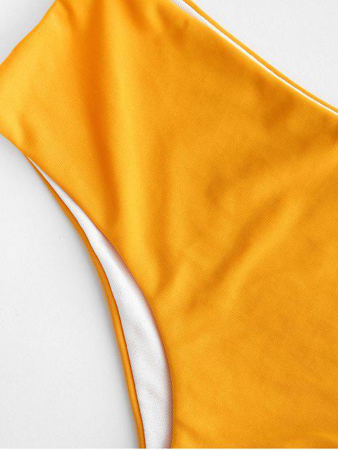 ZAFUL Средняя талия Бикини Трусы - Ярко-желтый L Mobile