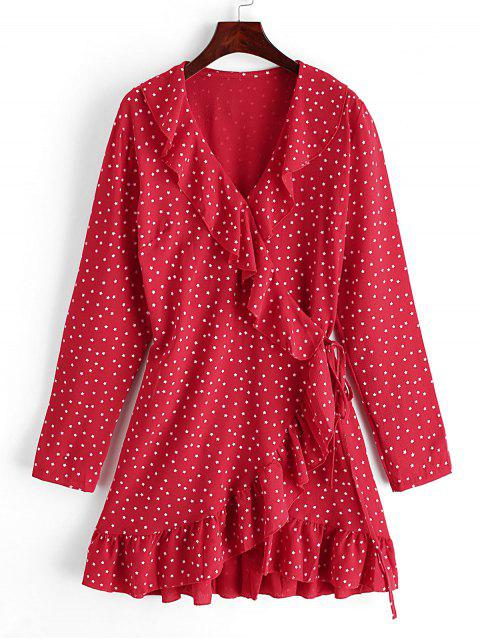 Mini Robe Enveloppée Etoile à Volants - Rouge Rubis S Mobile