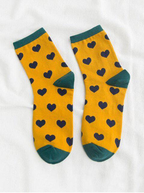 hot Heart Printed Crew Length Socks - YELLOW  Mobile