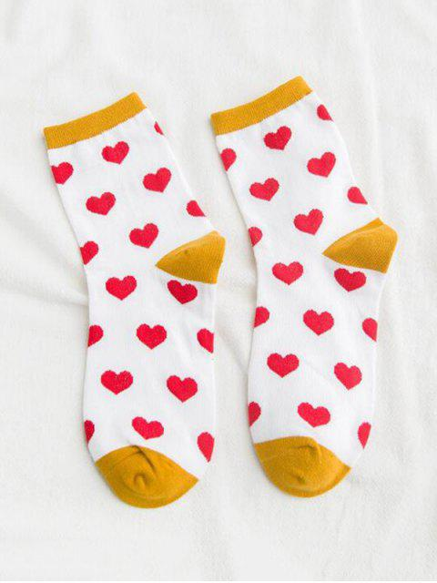 chic Heart Printed Crew Length Socks - WHITE  Mobile