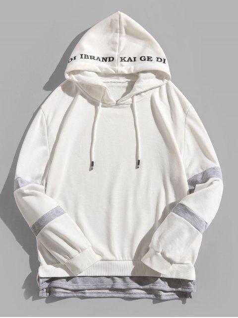 色塊拼接側開衩仿雙色字母印花連帽衫 - 白色 L Mobile