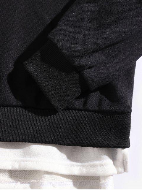 色塊拼接側開衩仿雙色字母印花連帽衫 - 黑色 L Mobile
