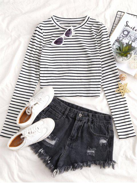 trendy ZAFUL Cropped Ribbed Stripes Tee - MULTI-A S Mobile