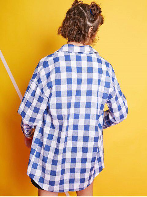 Camisa larga de bolsillo con botones a cuadros ZAFUL - Azul de Arándanos L Mobile