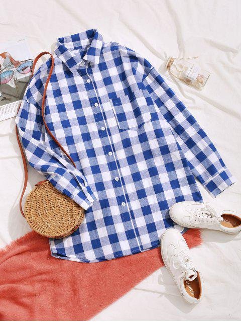 women ZAFUL Plaid Button Up Longline Pocket Shirt - BLUEBERRY BLUE M Mobile