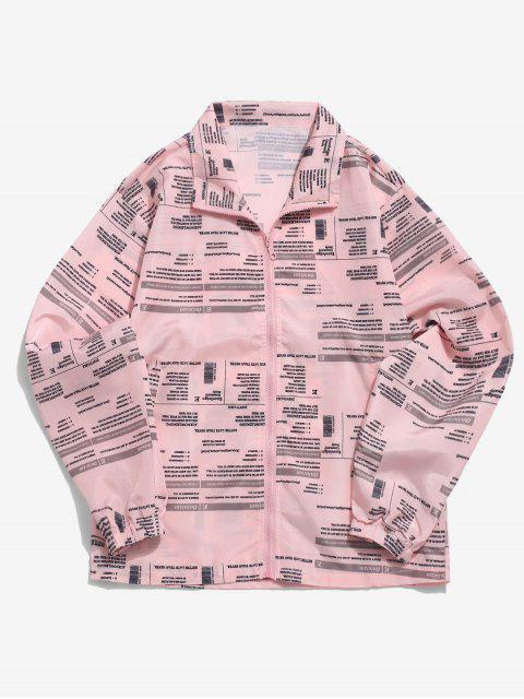 字母圖形通體印花休閒拉鍊夾克 - 玫瑰 M Mobile