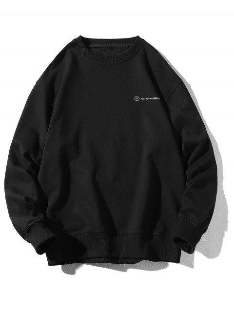 Sweat-shirt Décontracté Lettre Graphique Imprimée - Noir 3XL Mobile