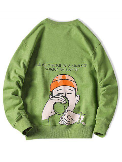 Sweat-shirt Décontracté Lettre Graphique Imprimée - Vert Pomme 4XL Mobile