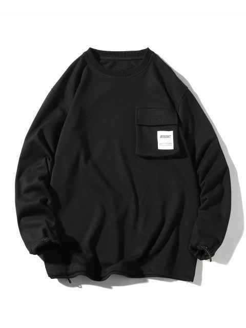 貼花貼花印花翻蓋口袋休閒運動衫 - 黑色 3XL Mobile