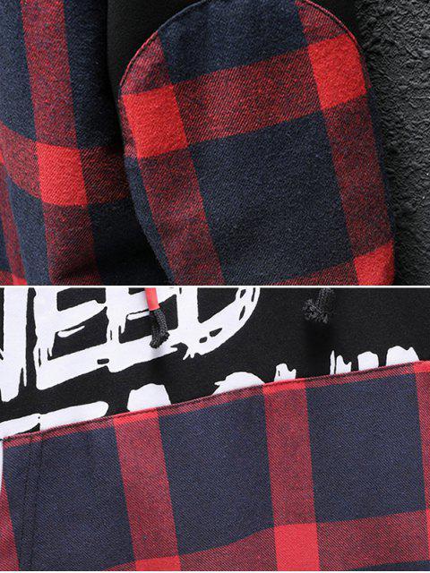 格子拼接字母圖形彎頭補丁休閒連帽衫 - 櫻桃紅 XS Mobile
