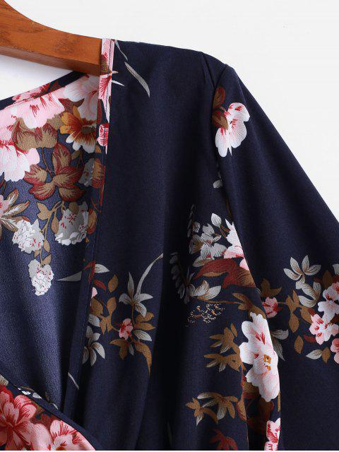 new ZAFUL Poet Sleeve Floral Belted Skirted Blouse - CADETBLUE S Mobile