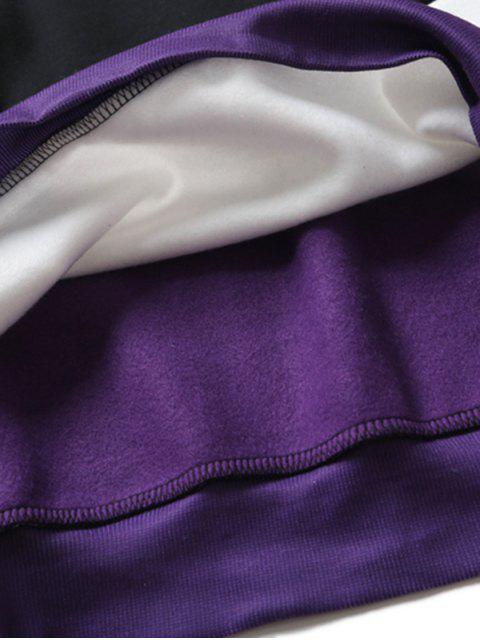 字母圖形打印顏色塊拼接插肩袖連帽衫 - 多-A 2XL Mobile