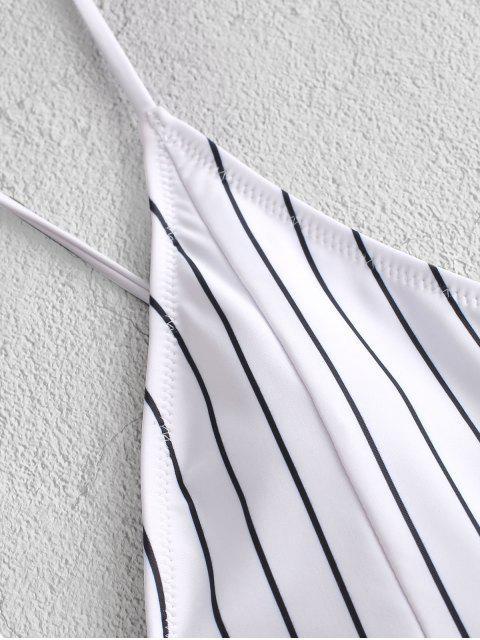 sale ZAFUL Ruffle Pinstriped Lace-up High Leg One-piece Swimsuit - BLACK XL Mobile