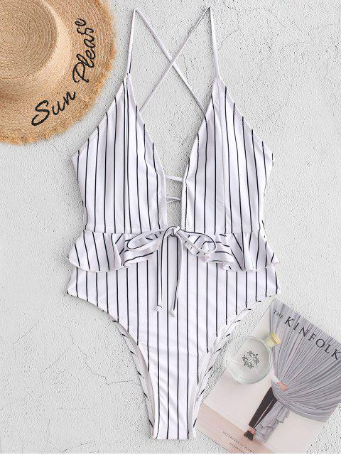 ladies ZAFUL Ruffle Pinstriped Lace-up High Leg One-piece Swimsuit - BLACK S Mobile