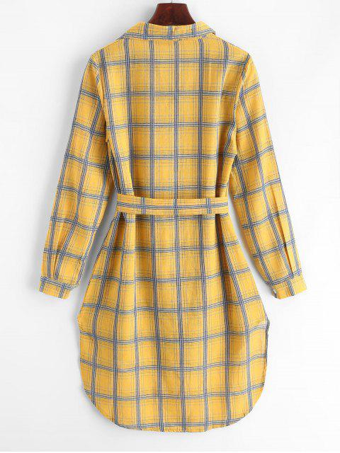 格子高低襯衫連衣裙 - 黃花 M Mobile