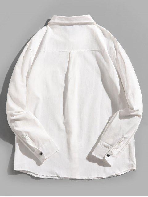 字母圖案打印固體胸前口袋休閒襯衫 - 白色 4XL Mobile