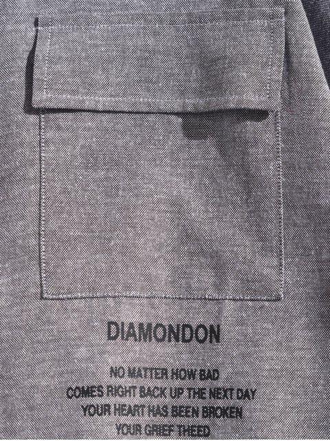 字母圖形打印翻蓋胸口口袋長袖襯衫 - 灰鵝 L Mobile