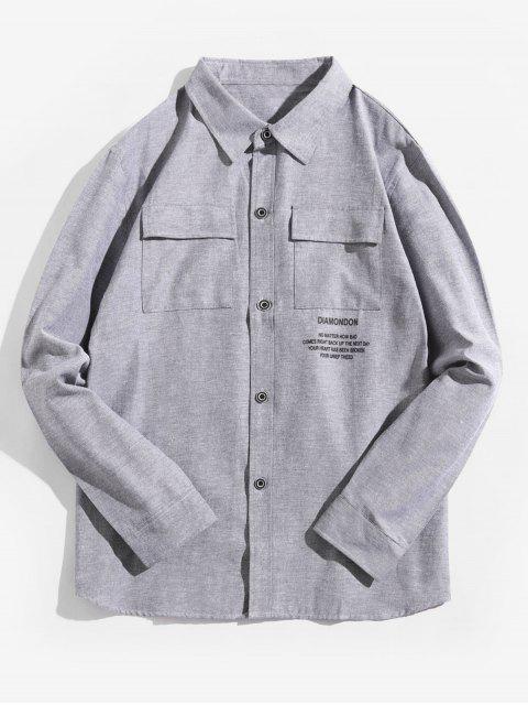 字母圖形打印翻蓋胸口口袋長袖襯衫 - 灰鵝 4XL Mobile