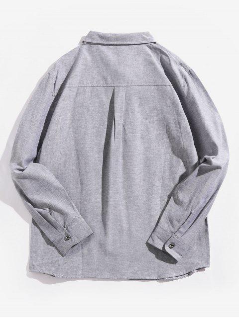 字母圖形打印翻蓋胸口口袋長袖襯衫 - 灰鵝 3XL Mobile