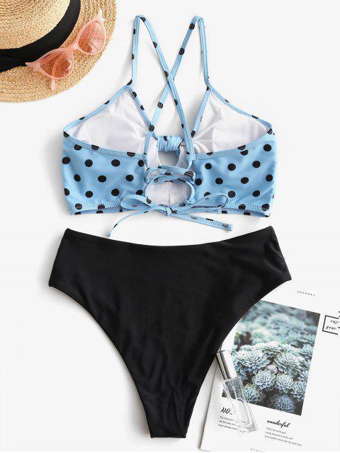 Bañador Tankini con cordones y lunares anudados ZAFUL - Azul de Koi S Mobile