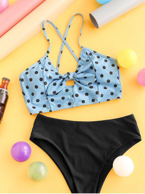 Bañador Tankini con cordones y lunares anudados ZAFUL - Azul de Koi M Mobile