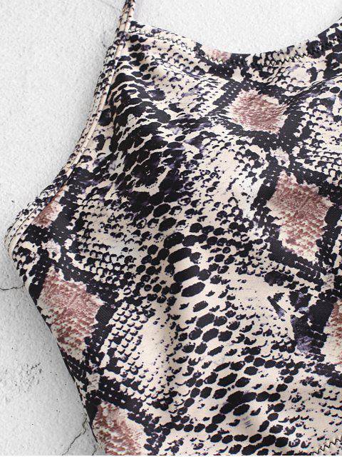 Bañador Tankini fruncido con cuello halter de piel de serpiente ZAFUL - Caqui Claro M Mobile