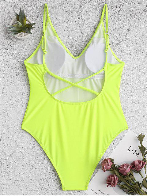 latest ZAFUL Neon Cross High Cut Backless One-piece Swimsuit - GREEN YELLOW S Mobile