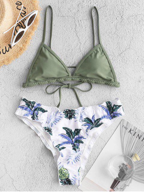 ZAFUL Maillot de Bain Bikini Tressé Ananas à Ourlet en Laitue - Vert Camouflage M Mobile
