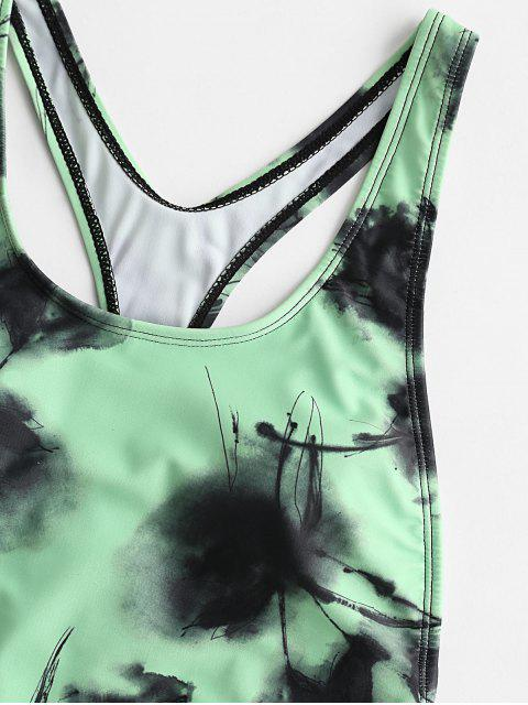 women ZAFUL Ink Painting Cutout Racerback High Cut One-piece Swimsuit - GREEN APPLE L Mobile