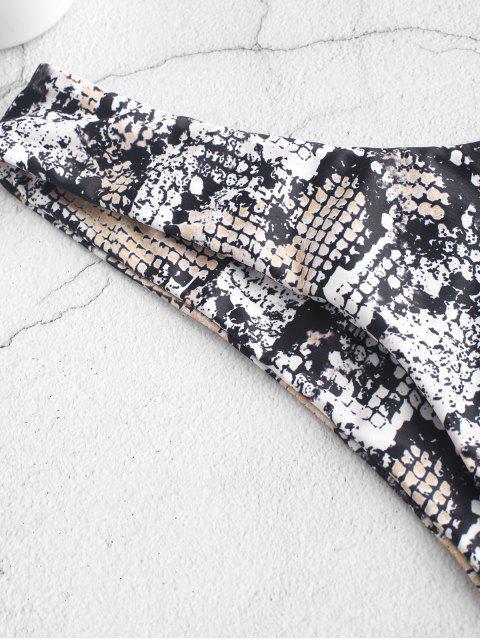 fashion ZAFUL Snake Print High Leg Bikini Bottom - ORANGE GOLD S Mobile