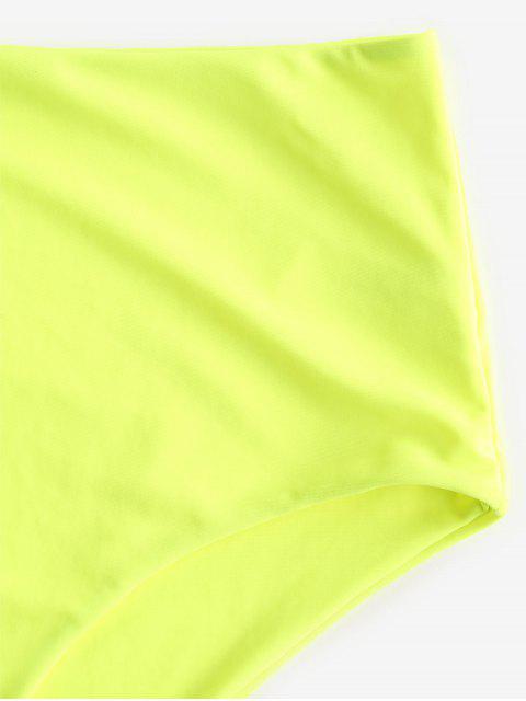 ZAFUL Calcinhas de Biquíni de Cintura Alta - Verde Amarelo L Mobile