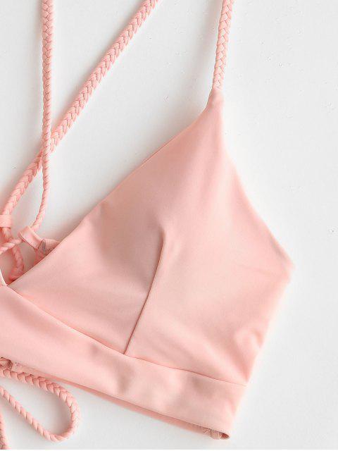 ZAFUL Biquíni de Correias Lace Up Acolchoado - Luz rosa XL Mobile