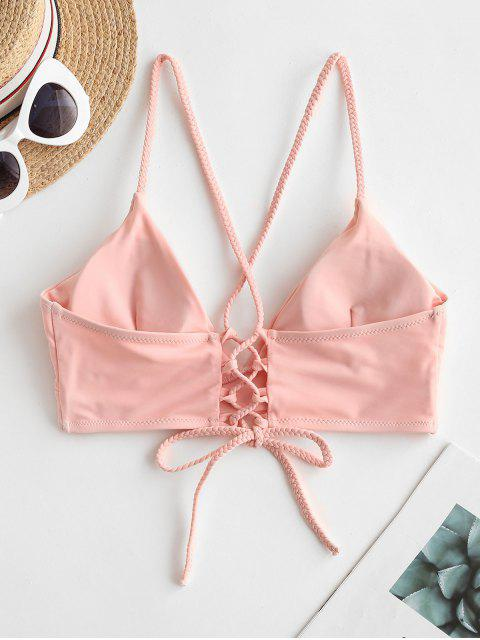 women's ZAFUL Braided Straps Lace Up Padded Bikini Top - LIGHT PINK M Mobile