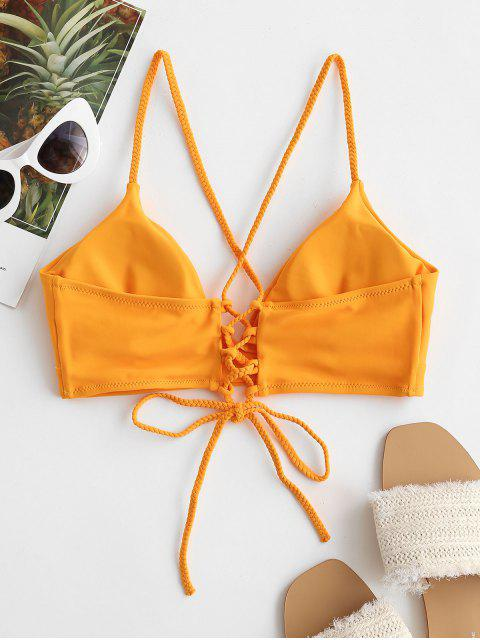 ZAFUL Biquíni de Correias Lace Up Acolchoado - Amarelo Brilhante XL Mobile