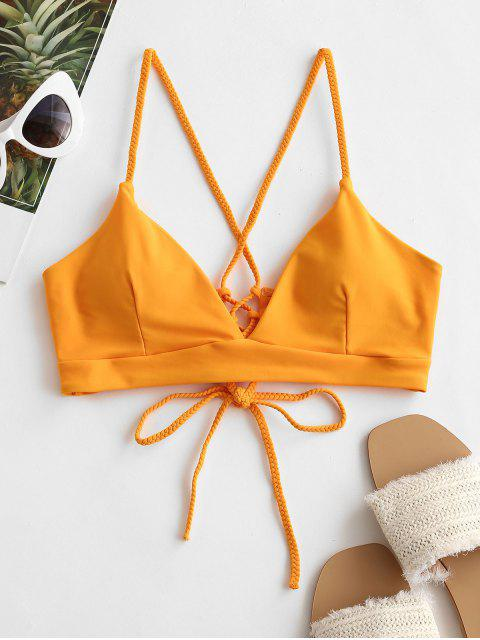 ZAFUL Biquíni de Correias Lace Up Acolchoado - Amarelo Brilhante M Mobile