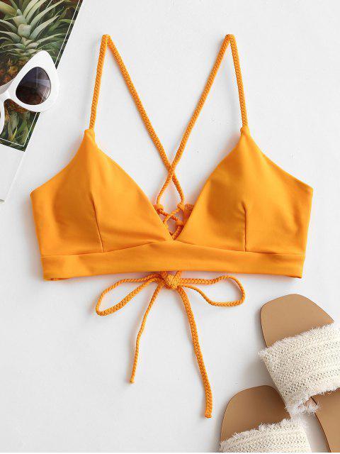 ZAFUL Biquíni de Correias Lace Up Acolchoado - Amarelo Brilhante S Mobile
