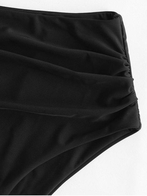 ladies ZAFUL Full Coverage Tummy Control Bikini Bottom - BLACK L Mobile