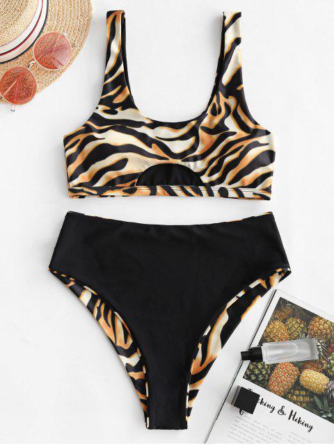 Traje de baño Tankini reversible de corte alto con estampado de tigre ZAFUL - Multicolor-A L Mobile