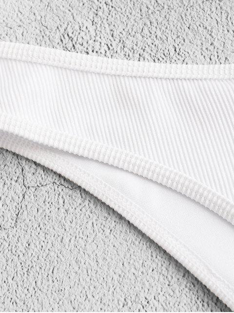 hot ZAFUL Piping Textured Ribbed High Leg Bikini Bottom - WHITE L Mobile