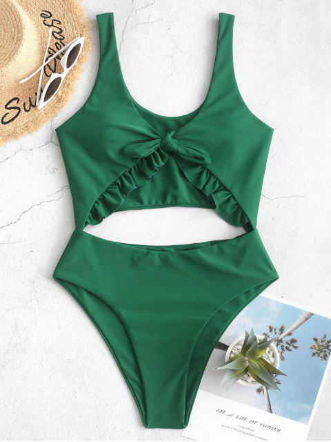 women's ZAFUL Knot Ruffle Cutout One-piece Swimsuit - MEDIUM SEA GREEN S Mobile