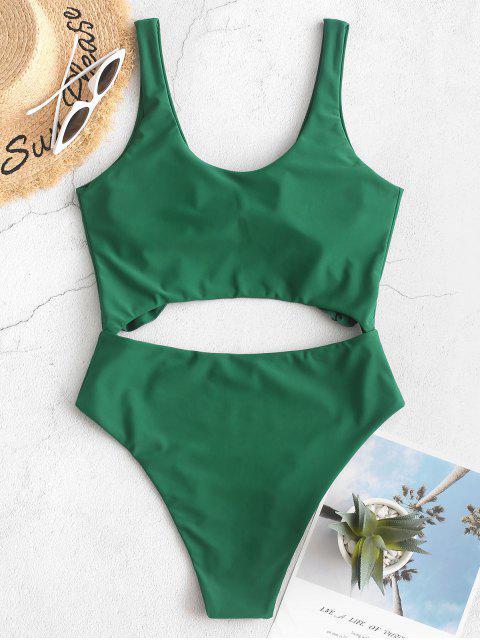 womens ZAFUL Knot Ruffle Cutout One-piece Swimsuit - MEDIUM SEA GREEN M Mobile